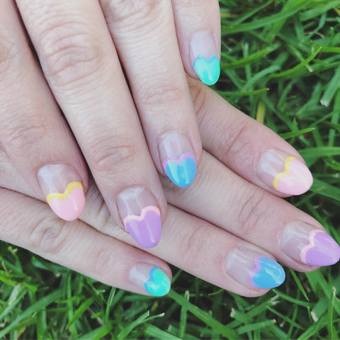 nail art, nail design, heart, love, rainbow, nail gel, valentine's day, holiday