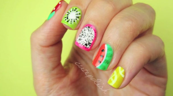 nail art, nail design, fruit, nail polish, colorful, tasty, cute, adorable, fashion, trend,style