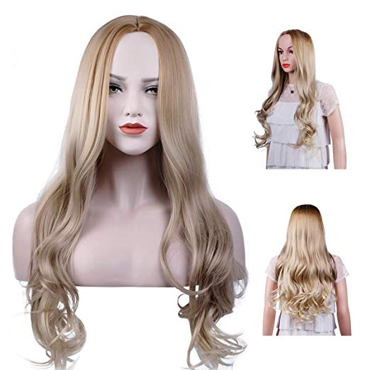 Ombre Wig Honey to Light Blonde Long Curly Wavy Wig