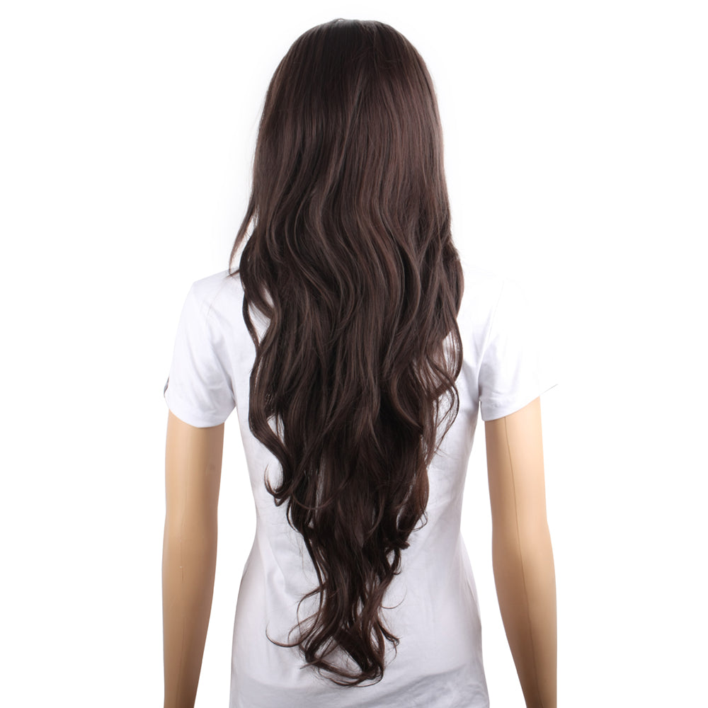Long Dark Brown Curly Wig-MS712