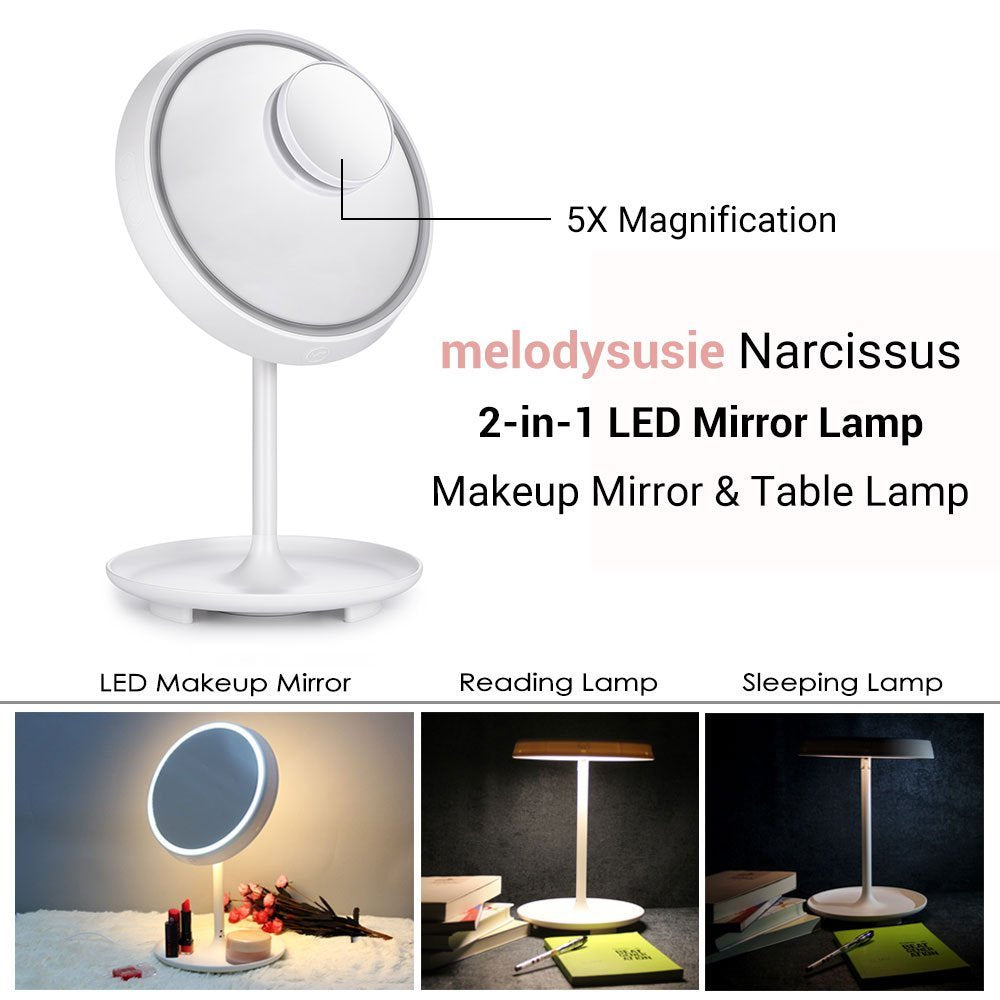 5X Magnifying 2-in-1 Touch Control LED Makeup Mirror