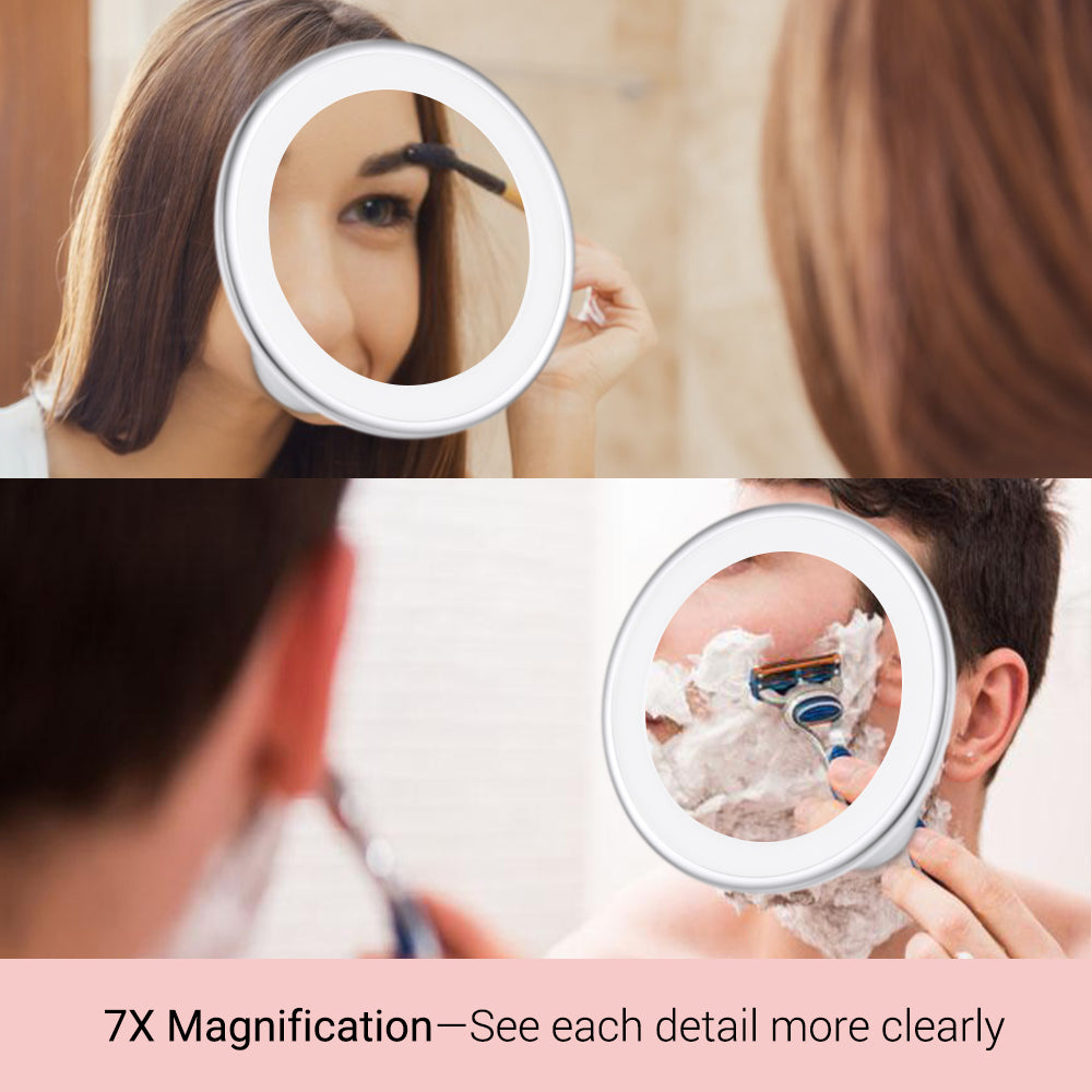 7x Magnifying LED Lighted Makeup Mirror