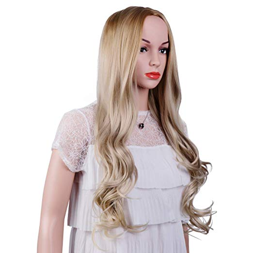 Honey to Light Blonde Long Curly Wavy Wig