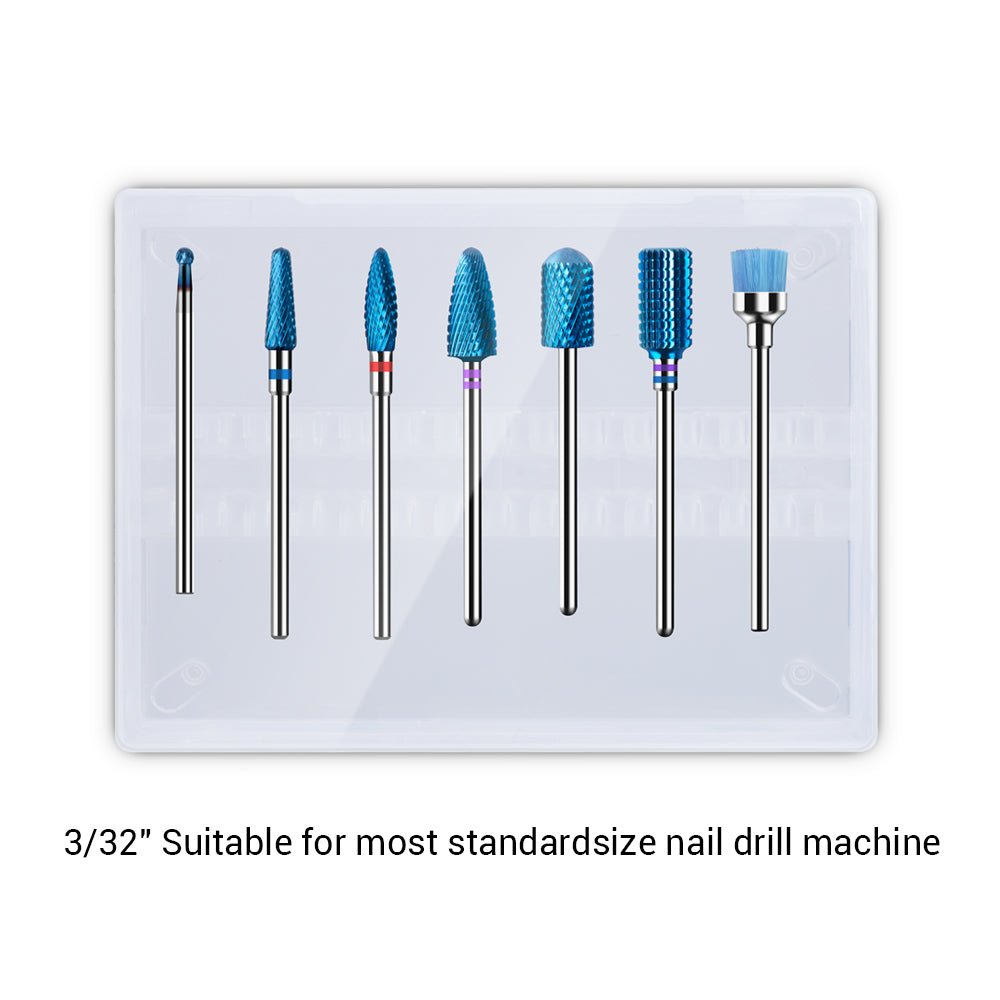 Blue Carbide Nail Drill Bits Set (7pcs)
