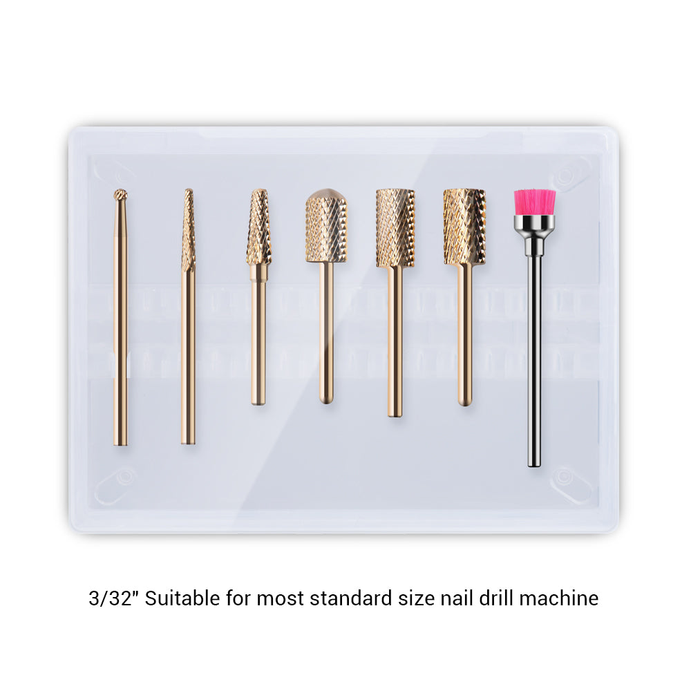 Gold Carbide Nail Drill Bits Set (7Pcs)