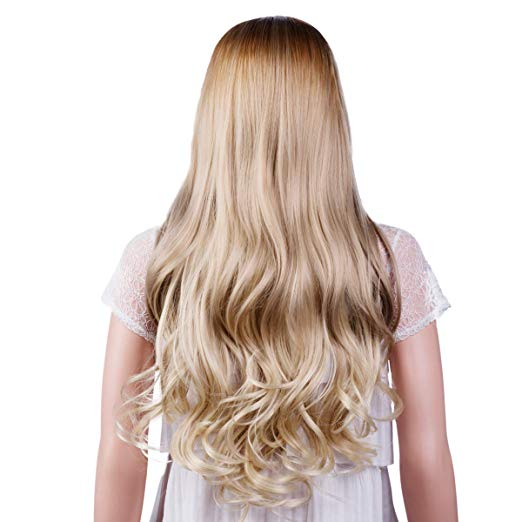 Light Blonde Long Curly Wavy Wig