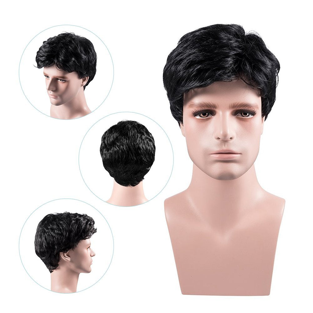 Men's Short Wigs with Wig Cap