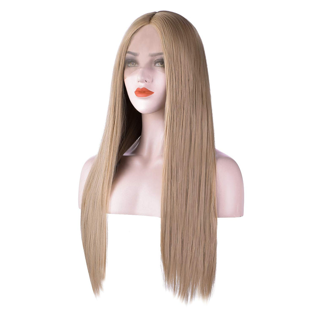 Glueless Middle Part Long Straight Synthetic Hair Replacements Wig