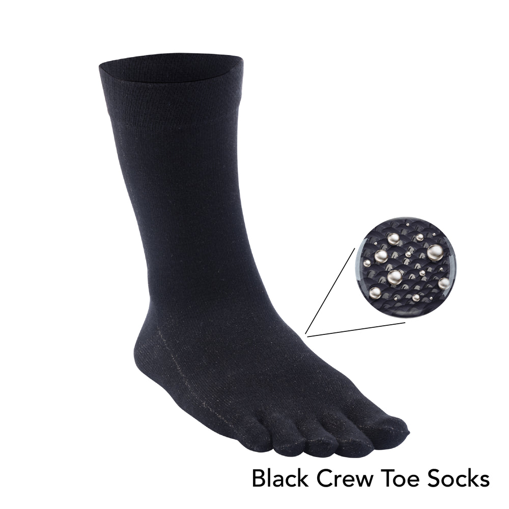 Load image into Gallery viewer, 13% Pure Silver Black Crew Toe Socks for Sensitive Foots
