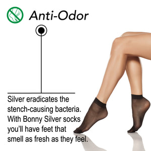 Load image into Gallery viewer, Silver Lady Ankle Socks For Sensitive Feet - 87% Nylon Silver Yarn