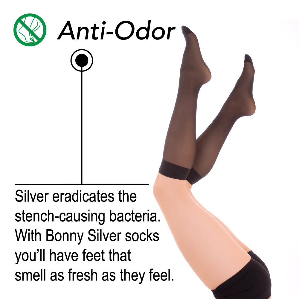 Load image into Gallery viewer, Silver Lady Knee Socks For Sensitive Feet - 87% Nylon Silver Yarn