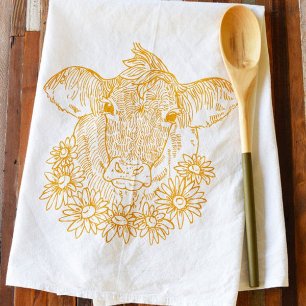 Flour Sack Tea Towel – Cow