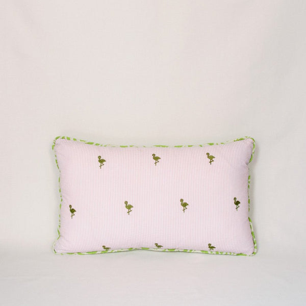 Seersucker Throw Pillow (Flamingos)