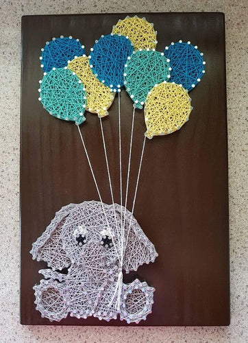Elephant holding Balloons Baby Nursery String Art on Dark Walnut Stained Timber
