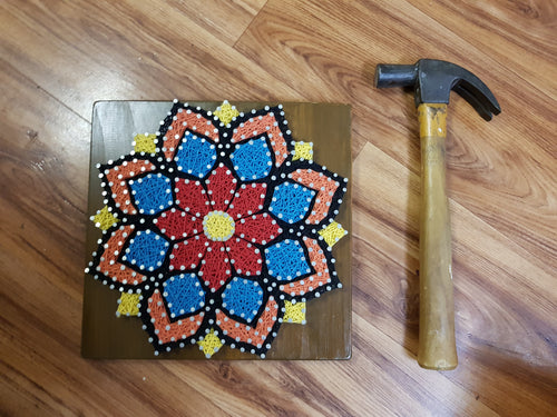 Colourful Mandala Flower String Art Wall Art Home Decor on Teak Stained Timber