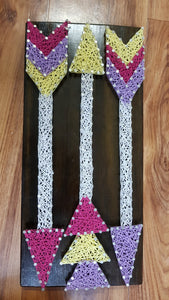 Colourful Eclectic Tribal Arrow String Art Wall Art Timber Sign Home Decor - Shazz Art