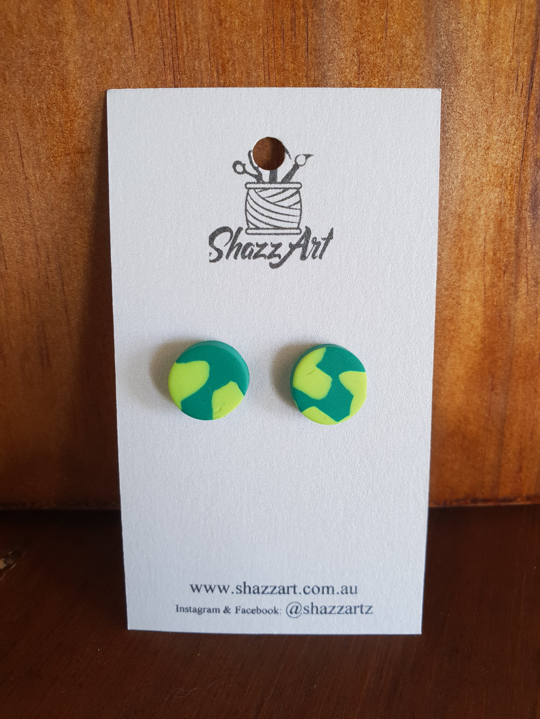 Green Puzzle Studs - Shazz Art