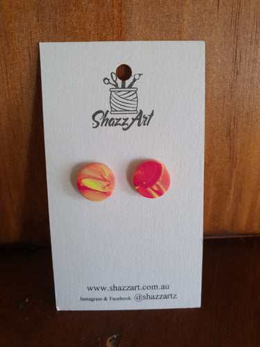 Pink and Yellow Studs - Shazz Art