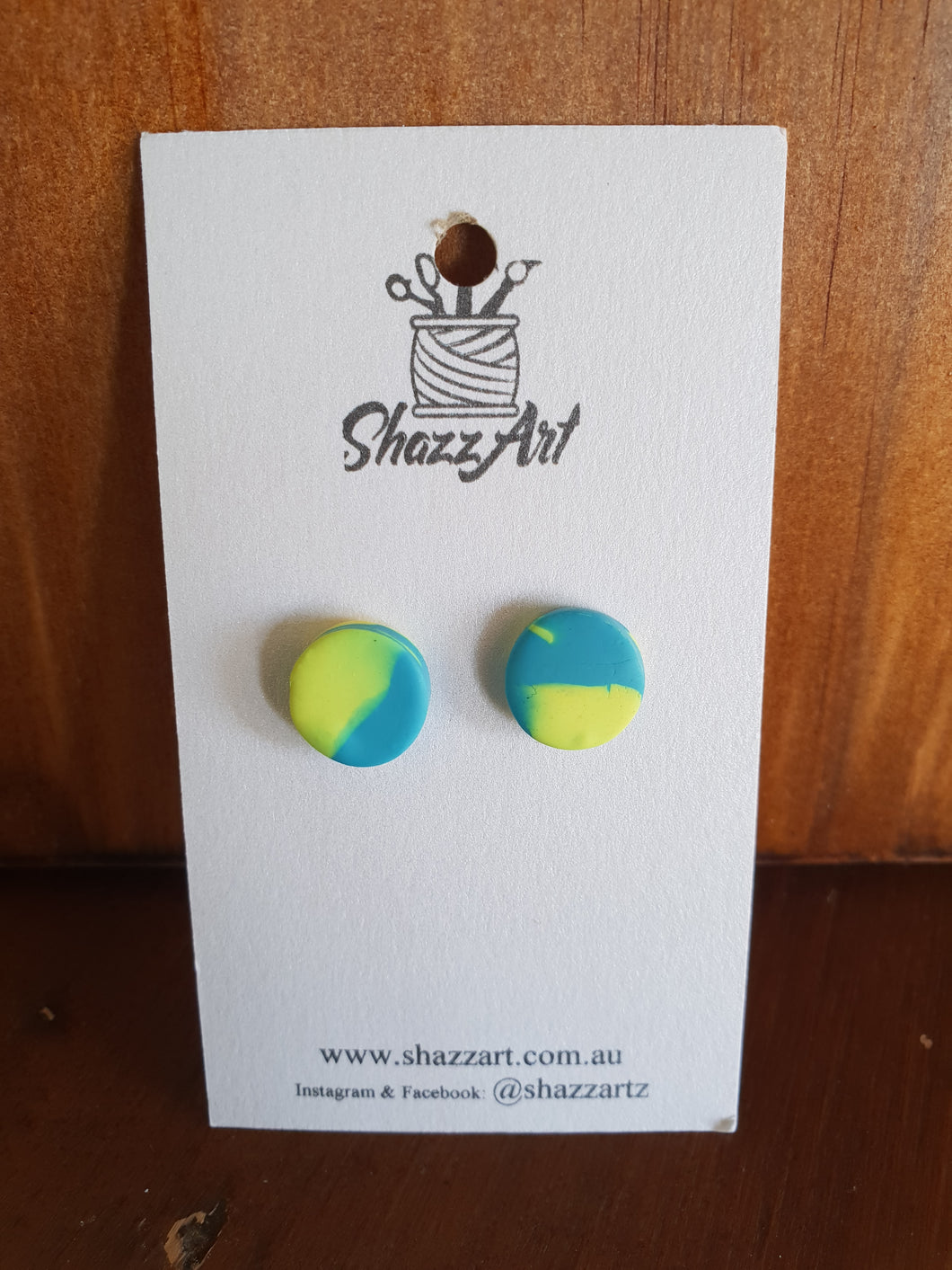 Blue and Yellow Studs - Shazz Art