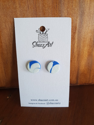Blue and White Swirl Studs - Shazz Art