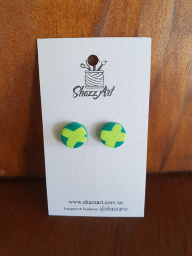 Green Cross Studs - Shazz Art