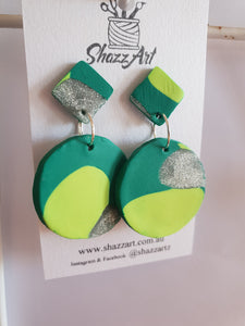 Green and Silver Dangle Studs - Shazz Art