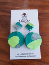 Load image into Gallery viewer, Green and Silver Dangle Studs - Shazz Art