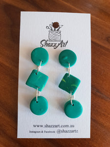 Green Dangle Studs - Shazz Art