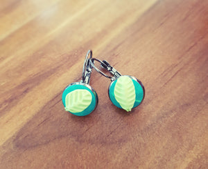 Green Leaf Cabachon Drop Earrings - Shazz Art