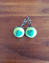 Load image into Gallery viewer, Green Heart Cabachon Drop Earrings - Shazz Art