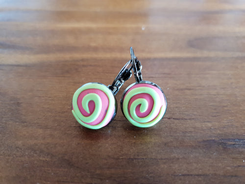Green and Pink Swirl Cabachon Drop Earrings - Shazz Art