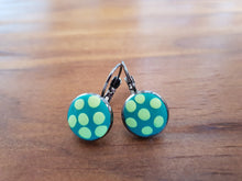 Load image into Gallery viewer, Green polka dot cabachon dangle clip earrings - Shazz Art
