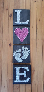 Set of 4 baby girl love sign - Shazz Art