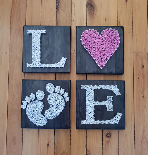 Set of 4 baby girl love sign