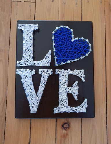 White and Blue String Art Love Sign