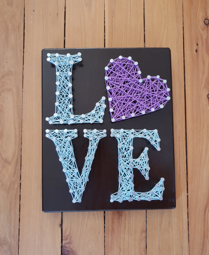 Mint and Purple String Art Love Sign - Shazz Art