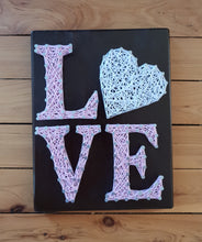 Load image into Gallery viewer, Pastel Pink and White String Art Love Sign