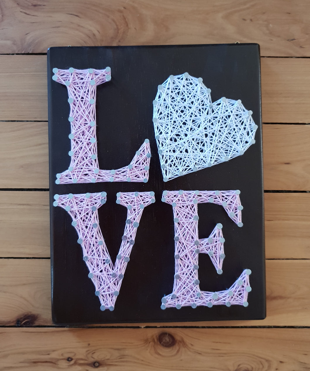 Pastel Pink and White String Art Love Sign