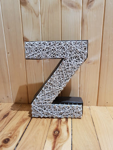 Z - White on Dark Walnut - Shazz Art