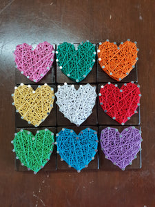 Heart Fridge Magnets on Dark Walnut Timber - Shazz Art