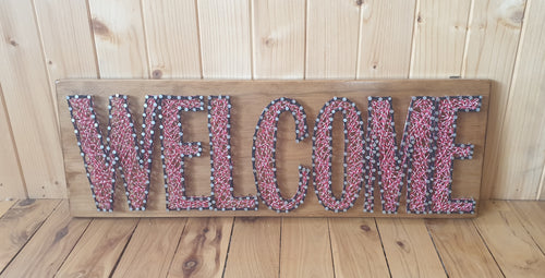 Red and White Welcome Sign - Shazz Art