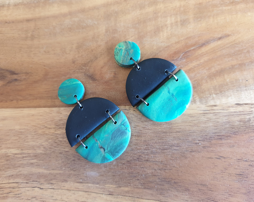 Green and Black Half Circle Studs - Shazz Art