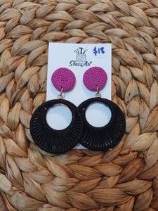 Hoop Dangle Earrings - black and purple - Shazz Art