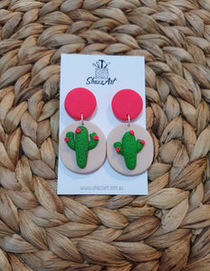 Jumbo Oval Cacti Stud Dangles - Shazz Art