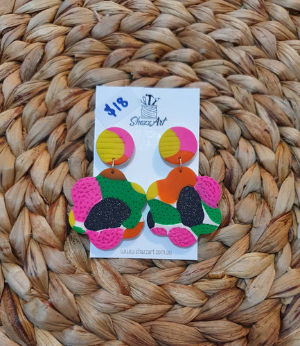 Giant Tropical Print Flower Stud Dangles - Shazz Art