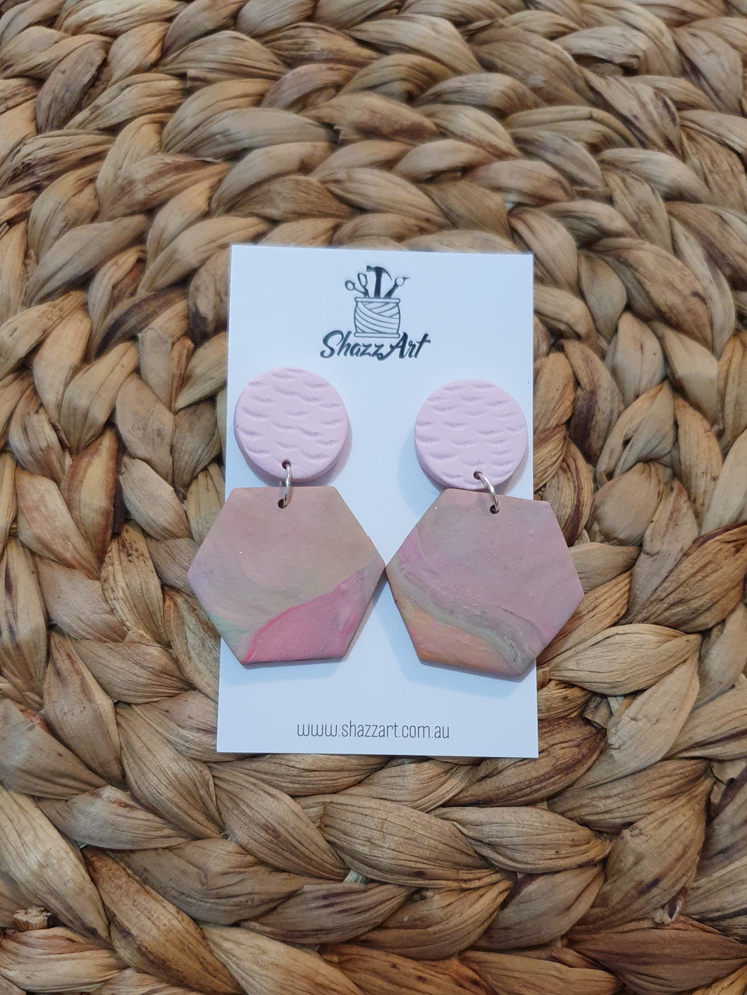Pastel Pink Statement Earrings - Shazz Art