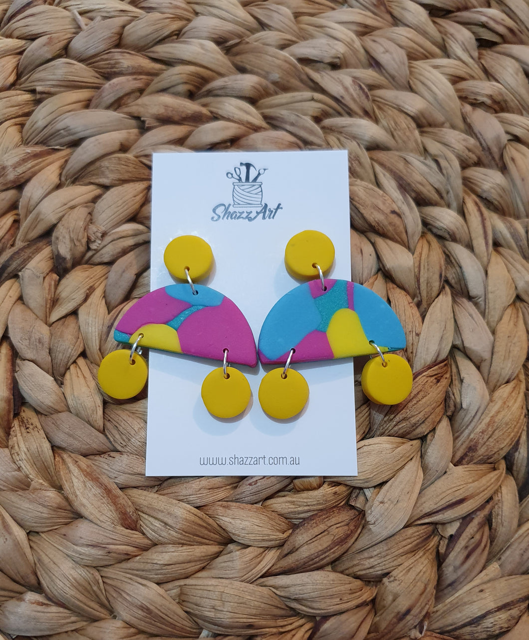 Yellow colourful stud dangles - Shazz Art