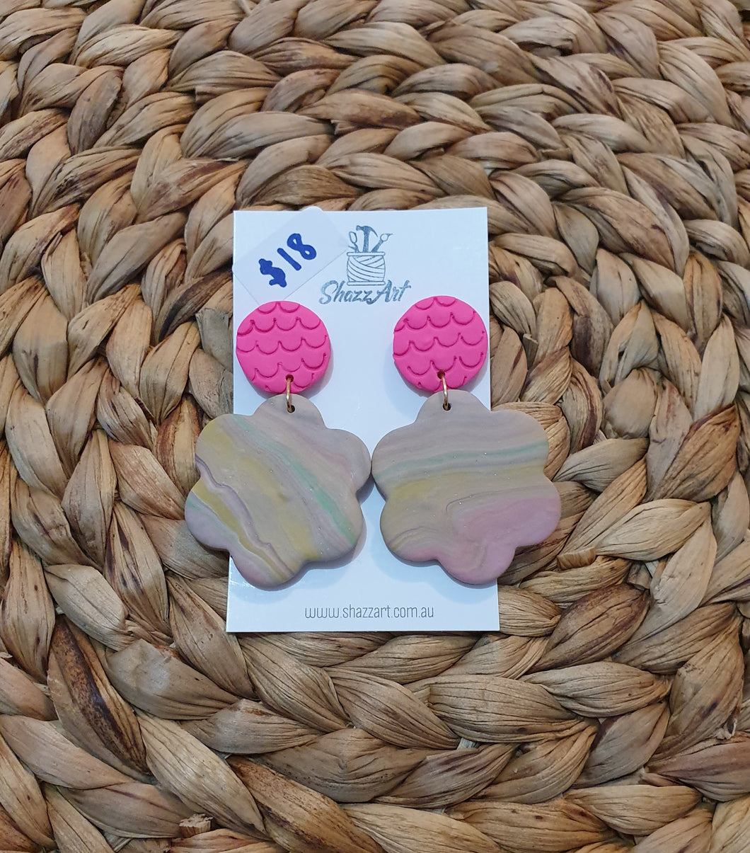 Hot Pink and Pastel Swirl Studs - Shazz Art