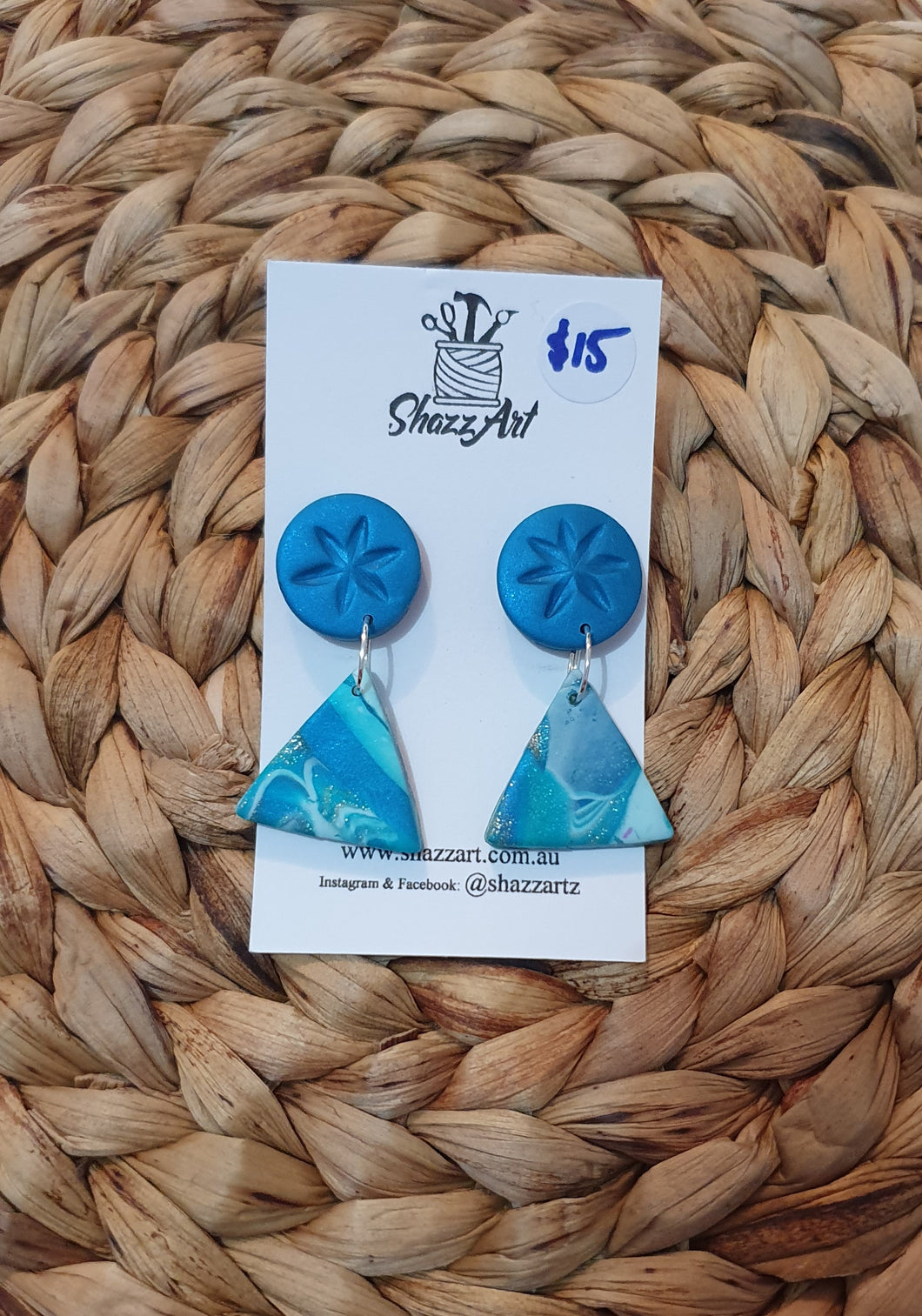 Multi Blue Dangle Studs - Shazz Art
