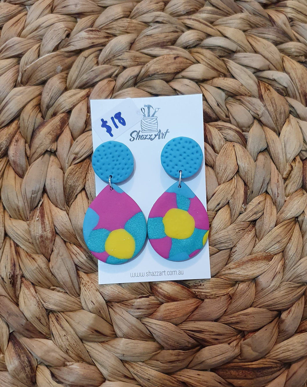 Blue Spots Jumbo Studs - Shazz Art